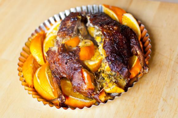 pieczona kaczka w pomarańczach