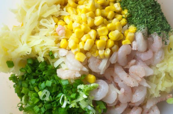 składniki na placki z krewetek i kukurydzy