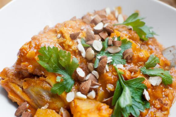 curry z kurczakiem soczewicą i ziemniakami