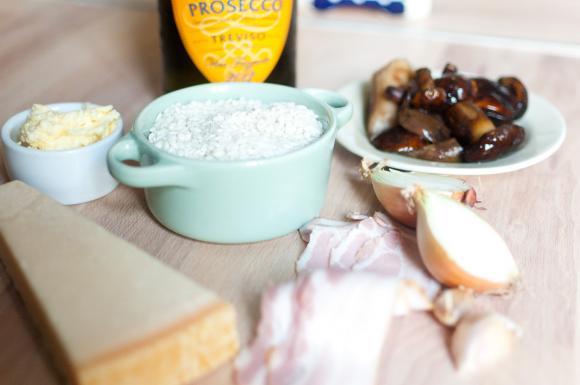 składniki na risotto z grzybami leśnymi